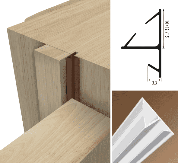Harmony Corner with Kerf Illustration and Dimensions